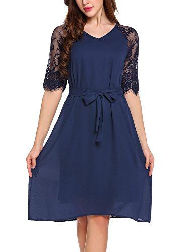 Parabler Damen Spitzen Kleid Chiffon Kleid Halb Arm Elegant A Line V-ausschnitt Gürtel -