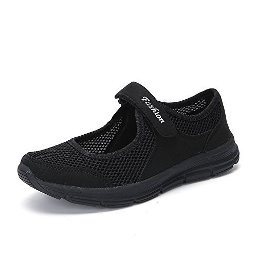 MRULIC Mode Damen Schuhe Sommer Sandalen Anti Slip Fitness Laufen Sportschuhe Prinzessin Turnschuhe(Schwarz,39 EU)