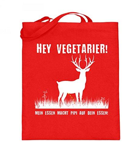 Hochwertiger Jutebeutel (mit langen Henkeln) - Hey Vegetarier! Rubinrot