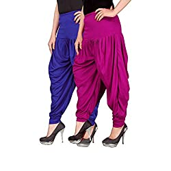 Navyataa Womens Lycra Dhoti Pants For Women Patiyala Dhoti Lycra Salwar Free Size (Pack Of 2) Blue & Magenta
