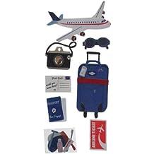 Sandylion Essentials Travel by Plane - Pegatinas (avión, maletín, pasaporte, billete, cámara de fotos, mapa)
