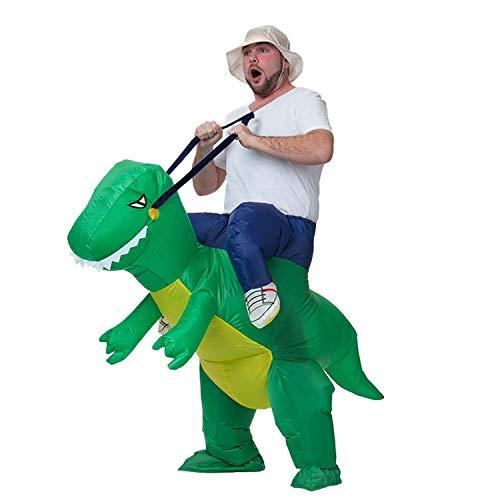 DMMASH Halloween Weihnachten Erwachsene Aufblasbare Dinosaurier-Kostüm Sprengen Kostüm,Green