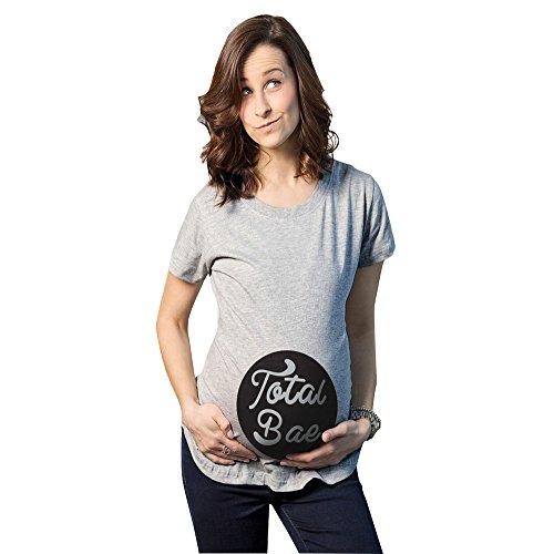 MissFox Maternité T-shirt de Grossesse Humours Total Bae Imprimé-Femmes Tops Gris