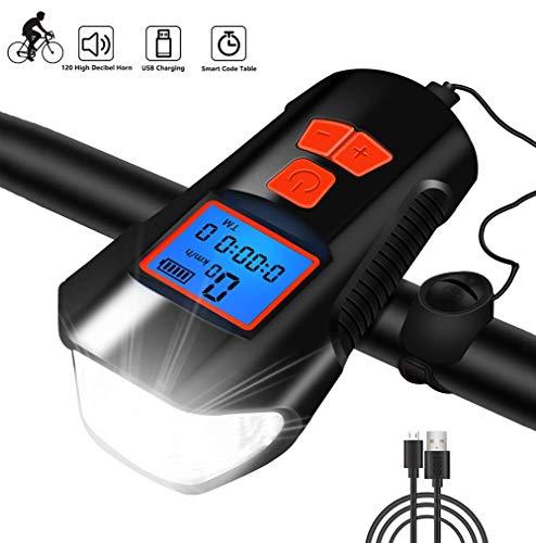 Eashnace Fahrradlicht Tachometer Multi - Wasserdichter Scheinwerfer, Funktion mit LCD-Anzeige Nachtfahren Fahrrad Kilometerzähler, USB aufladbare Code Tabelle Fahrrad Licht Laute Alarmglocke