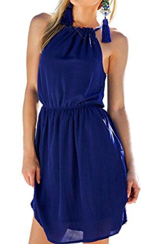 ECOWISH Damen Chiffonkleid Sommerkleid Strandkleid Neckholder beiläufig loses ärmellos Minikleid