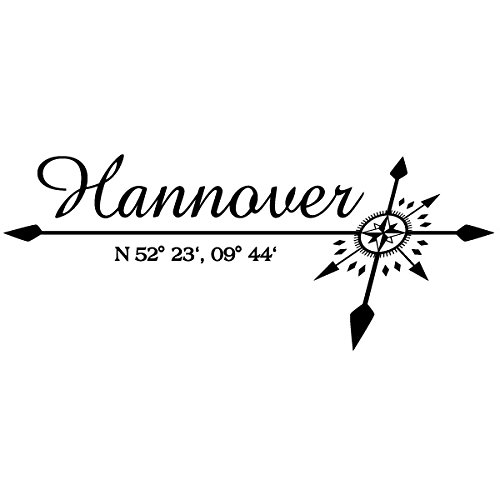 Wadeco Koordinaten Windrose Hannover Wandtattoo Wandsticker Wandaufkleber 35 Farben verschiedene Größen, 70cm x 28cm, gold