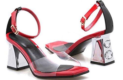 Beauqueen Pumps CASUAL PARTY SANDALS Sommer Mädchen Frauen Transparente Obere Knöchelriemen Low Heel Einfache Comfortbale Schuhe Europa Standard Größe 34-39 Red