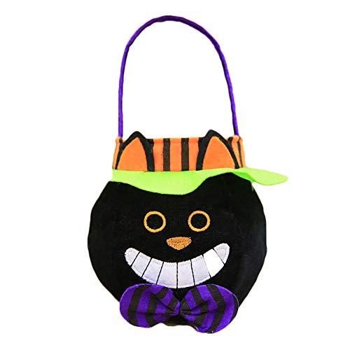 Halloween Beuter Trick or Treat Süßigkeiten Taschen Cartoon schwarze Katze Art Kürbis-Tasche für Kinder Halloween Themed Party-Geschenk (Halloween Trick Or Treat Cartoon)