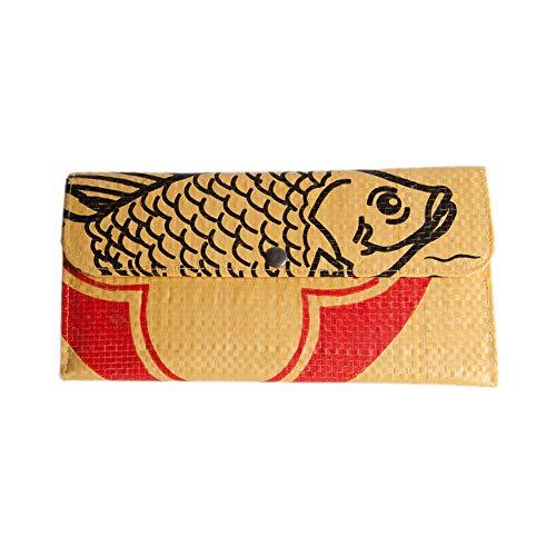 Upcycling Portemonnaie (zweifach gefaltet) - recycelter Zementsack, Farbe/Aufdruck:Fisch Gelb-Schwarz - Deluxe Damen Geldbörse