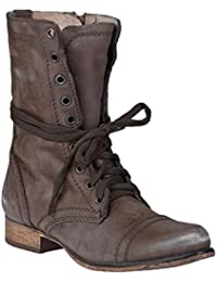 Tacón Bajo Botas de Punta Redonda para Mujeres Retro Otoño Invierno Casual  Zapatos con Cordones Mujer Cómodo Talón Bloquear Botines… 4d6a98baea72