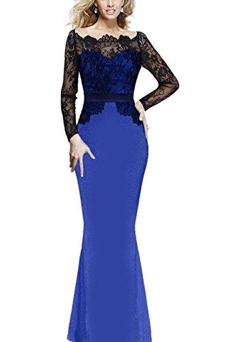 Robe de soirée Maxi féminin dentelle Sexy Patchwork Swing blue