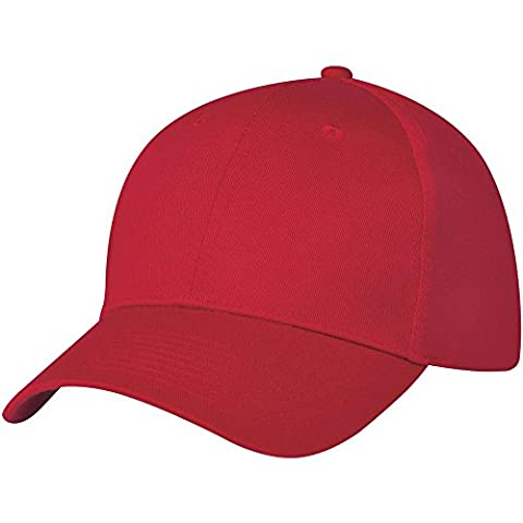 Black 6 panel baseball cap, Now Available In 6 Colours. (Red)