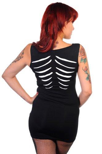 Robe top noir sans manches avec imprimé squelette phosphorescent Noir