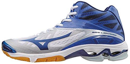 Mizuno Wave Lightning Z2 Mid, Chaussures de Volleyball Homme, Bleu/Vert/Blanc Bianco (White/Dazzlingblue/Twilightblue)