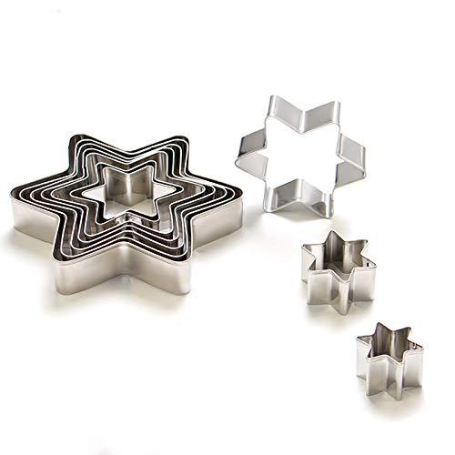 Ebroker stampo a forma di stella set da 10 pezzi - formine per biscotti, stampi per biscotti fatti in casa o per decorazioni in fondente, decorazioni di dolci di pasticceria - acciaio inossidabile