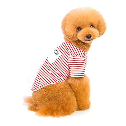 Pangding Haustier-Kostüm, stilvolle Streifen-niedliches lustiges warmes Kleidungs-Ausstattungs-Anzugs-Kleid für Hundekatzen-Welpen(S-rot) (Lustig Pommerschen Kostüm)