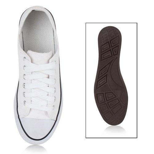 Sportliche Damen Sneakers Sportschuhe College Schnürer Weiß