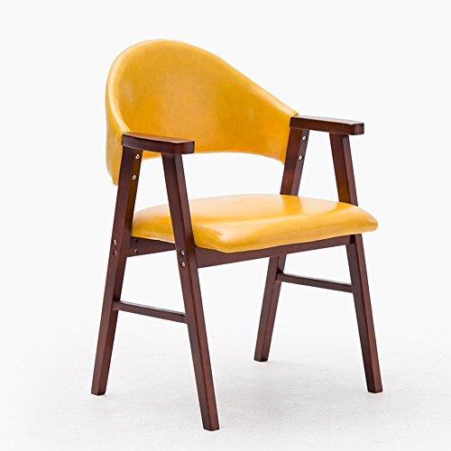 ZHANGRONG- Chaise de salle à manger en bois massif avec dossier d'accoudoir de chaise d'étude d'accoudoirs beaucoup de couleurs -Tabouret de canapé (Couleur : Le jaune, taille : B)