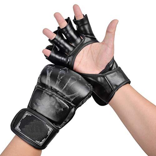 MMA Handschuhe, Halbfinger Boxhandschuhe Fausthandschuhe mit verstellbarem Handgelenkband for Kickboxen Sparring Muay Thai Bag