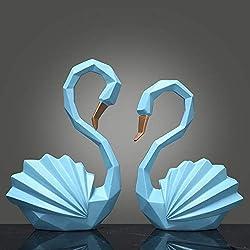 Arreglo Geométrico Escandinavo de pareja de Cisnes para mesa de centro