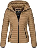 Marikoo Damen Jacke Steppjacke Übergangsjacke mit Kapuze gesteppt B600 [B600-Samt-Camel-Gr.S]