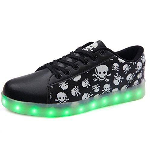 (Présents:petite serviette)JUNGLEST® Chaussures LED Skull Crane noir enfants Femme Homme Clignotants Chaussur Noir