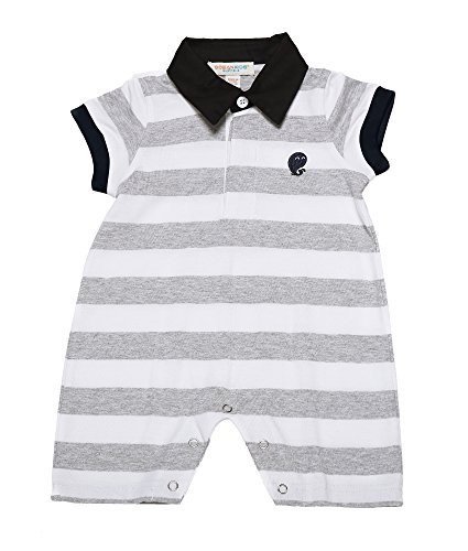 Oceankids Baby Mädchen Body gestreift Spieler mit Polo-Collar Grau 12M 9-12 Monate (Harley Davidson Baby Jungen Kleidung)