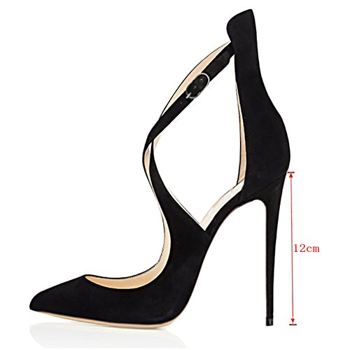 MERUMOTE Damen Y-196 Stilettos Ausgeschnitten Pumps Cross Strap Party Schuhe Damen Schwarz-Faux Wildleder