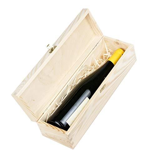 Amazinggirl Weinbox Geschenk-Box Holz Holzbox mit Deckel - Holzschatulle Holzschachtel Schatulle Weinkiste Holzkiste für 1 Wein-Flasche