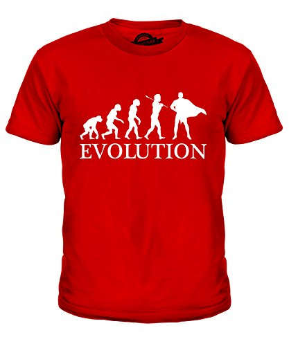 volution Des Menschen Unisex Jungen Mädchen T Shirt, Größe 4 Jahre, Farbe Rot (Batman Kostüm 3 Vor 4 Jahren)