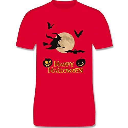 Shirtracer Halloween - Happy Halloween Mond Hexe - 3XL - Rot - L190 - Herren T-Shirt Rundhals (Besen Flamme Hexe)
