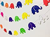 #3: Rainbow Elephant Paper Garland Party Decorations, Paper Garland,birthday decorations items,birthday decoration material,birthday decorations,Birthday Party Decorations,Paper Garland, Birthday Decorations, Birthday Party Garland, Yellow, Blue, Turquoise, Orange, Lime Green, Red
