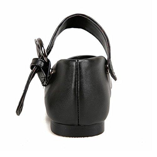 TAOFFEN Damen Mode Flache Schuhe Pointed Toe Pumps Mit Schnalle P Schwarz