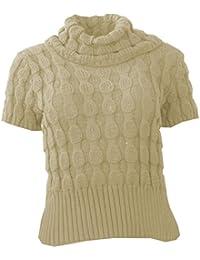 Womens Bubble Knit Plain or Striped Cowl Neck Ladies Jumper