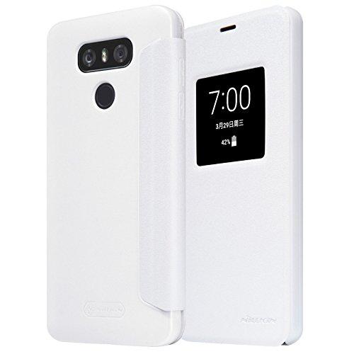 Nillkin Sparkle Klappschutzhülle Leder Schutzhülle für LG G6-Weiß (Faser-optik-kamera-android)