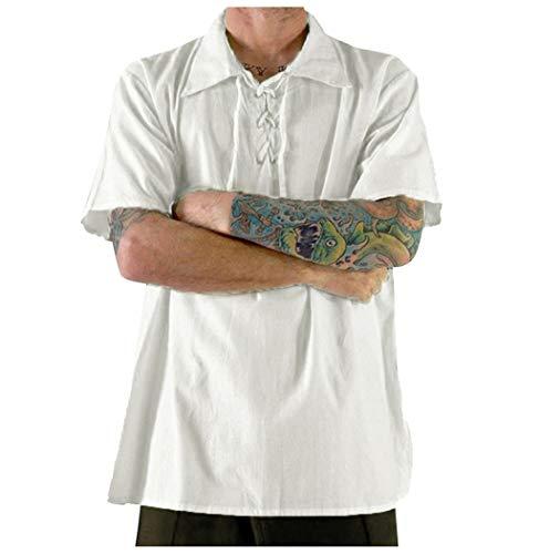 UJUNAOR Herren T-Shirt Leinen Sommer Volltonfarbe Atmungsaktiv Kurze Ärmel Tunnelzug Casual Tops(Medium,Weiß)