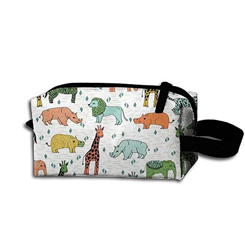 Travel Makeup Safari Zoo Animals Beautiful Waterproof Cosmetic Bag Quick Makeup Bag Pencil Case -