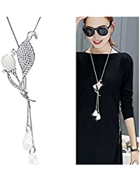 Shining Diva Fashion Pendent for Girls with Long Chain Party Wear Pendant Stylish Necklace for Women & Girls(Silver)(9264np)
