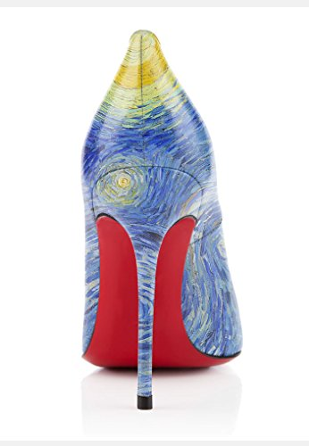 uBeauty Privater Brauch Van Gogh Malerei Serie von High Heels Round Zehen The Starry Night