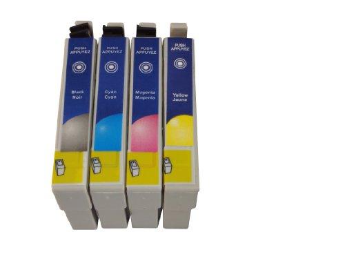 4cartuchos de tinta compatibles con cartuchos para reemplazar el original Epson T0551, T0552, T0553, T0554, compatible con Epson Stylus Photo RX400, RX420, RX421, RX425, RX430, RX520R240, R245impresoras