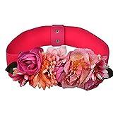 Outflower Faja con Flor Artificial de Tela para Durable Decoración Novia para Boda Faja Cintura Cinturón Cinta de Raso de Brillantes de Imitación para Mujer