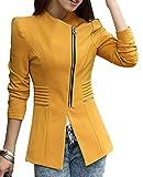 Betrothales Sakko Damen Langarm Festliche Mit Reißverschluss Slim Fit Blazer Herbst Anzugjacke Lässige Elegante Frühling Business Outerwear Office Mode (Color : Gelb, Size : XL)