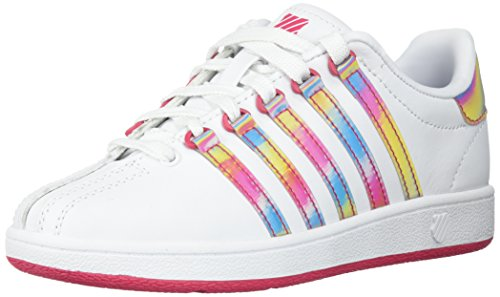 K-Swiss Baby Classic VN Sneaker, White/Raspberry, 8 M US Infant