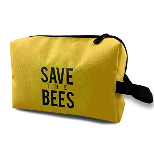 Save The Bees Makeup Multifunction Storage Portable Clutch Pouch Toiletries Organizer Bag Travel Cosmetic Bags Portable Hanging Travel Toiletry Bag Waterproof Pretty Makeup Bags