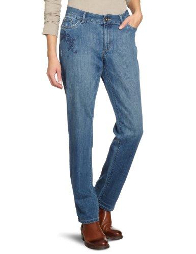 Eddie Bauer Damen Jeans D3161336 Boyfriend / Anti Fit (tiefer Schritt) Niedriger Bund Blau (Bleached bestickt)