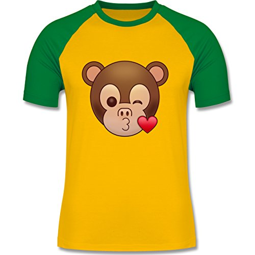 Comic Shirts - Küsschen Äffchen Emoji - zweifarbiges Baseballshirt für Männer Gelb/Grün