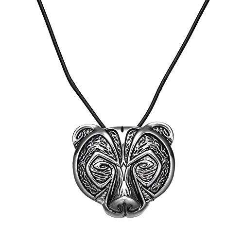 Kostüm Kopf Muster Bären - Nordische Wikinger Bär Amulett Halskette Legendäre Wikinger Bär Kopf Amulett Seil Leder Anhänger Halskette Talisman Schmuck