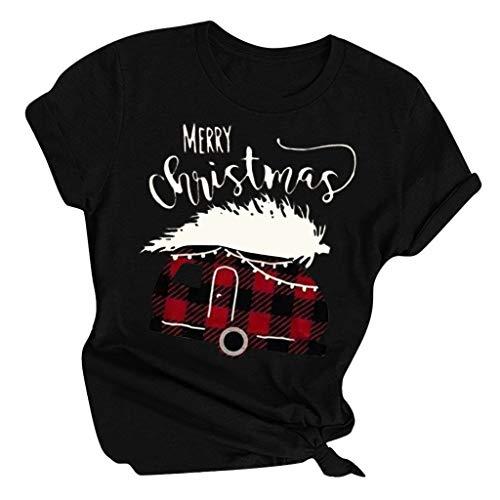 LOPILY Weihnachtspullover Damen Karierte Oberteile mit Weihnachtsbuchstaben Druck Bequeme Weihnachtsshirts Locker Norweger Pullover Damen Sweatshirt für Weihnachtsparty Damenpoloshirts (Schwarz, L)