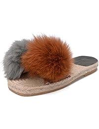 Las mujeres de lino de felpa zapatillas chanclas colormatch sandalias sandalias temperamento plana zapatillas...