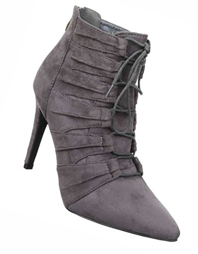 Damen Boots Schuhe High Heels Stiefeletten Schwarz Beige Grau 36 37 38 39 40 41 Grau